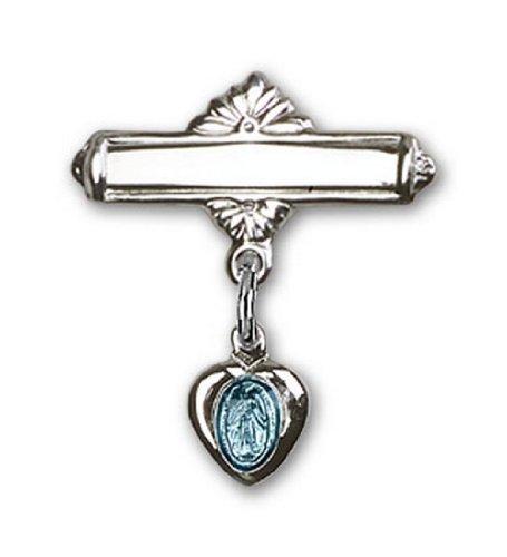 Icecarats Créatrice De Bijoux Sterling Broche De Badge Charme Miraculeuse Argent Bleu 3/4 X 5/8