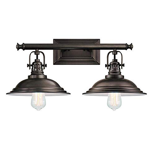 Langdon Mills 10266 Bowery 2-Light Bathroom Vanity Light, Burnished Bronze