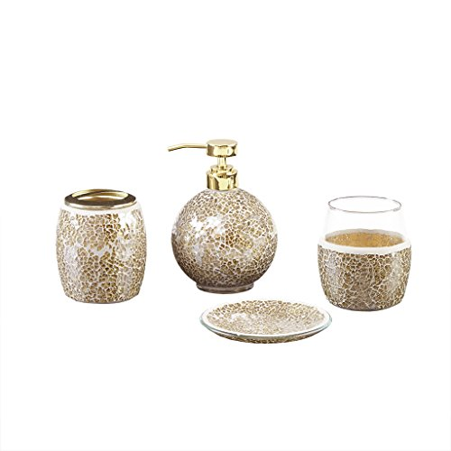 Mosaic Bathroom Accessories Set , 4 Piece Bath Accessory Sets With Gold Soap Dispenser , Toothbrush Holder , Tumbler And Ring - Bathroom Dispenser Soap Gold