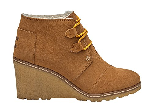 (TOMS Women's Desert Wedge Wheat Suede/Shearling/Faux Crepe Wedge Boot (5.5, Wheat Suede/Shearling/Faux Crepe Wedge))