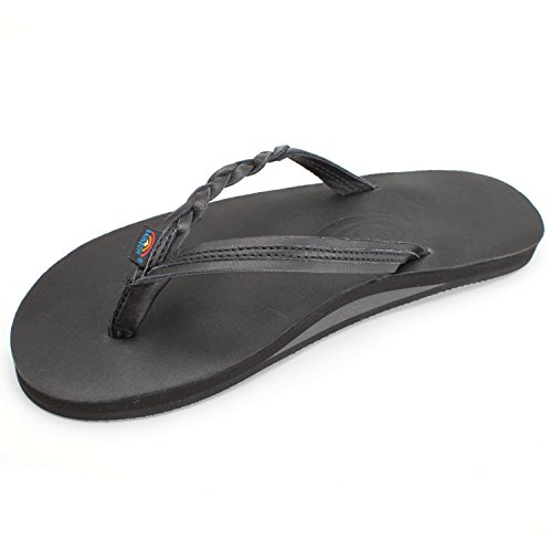 Rainbow Sandals Women's Flirty Braidy Sandals, Classic Black, Large - Comfort Rainbow Classic