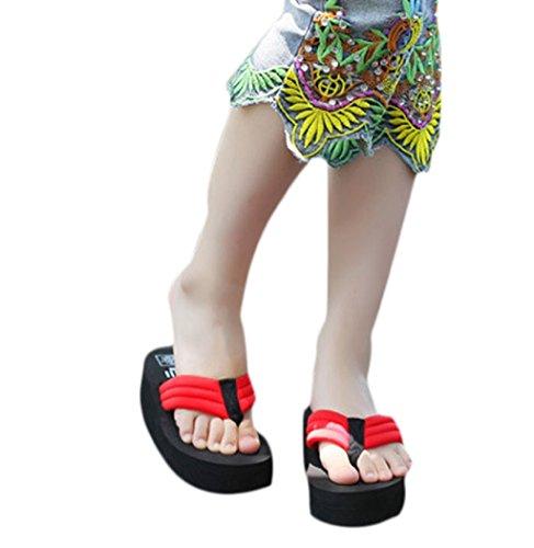 Sagton Mujer Sandal Platform Wedges Chanclas Cuña Heel Beach Slippers Rojo