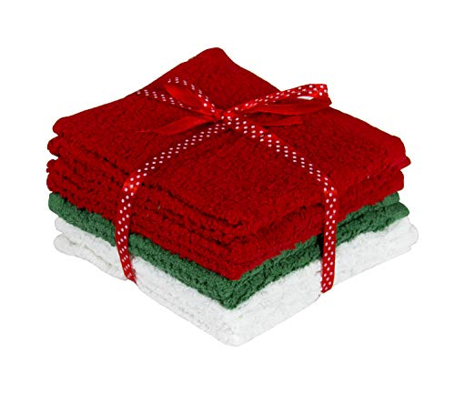 New Holiday Edition Super Soft and Absorbent 8 Piece Natural Cotton Washcloth Set (Red/White/Green) (Holiday Washcloth)