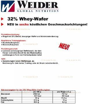 Weider Whey Wafer Schoko Riegel, 4-er Pack (4 x 35 g)