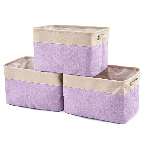 EZOWare Collapsible Large Storage Bins Basket [3-Pack] Canvas Fabric Tweed Storage Organizer Cube Set W/Handles for Nursery Kids Toddlers Home and Office - Cream/Purple 15 L x 10.5 W x 9.4 H