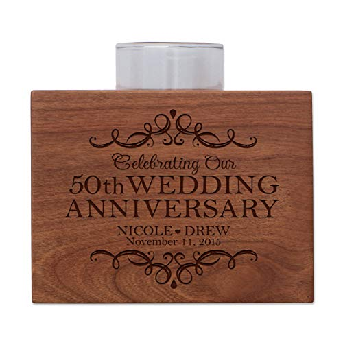 "LifeSong Milestones Personalized Fiftieth Wedding for Parents, 50 Year Cherry Candle Votive Holder for Table Party Decorations or Centerpiece Keepsake 5""x3.75"" (50th Anniversary)"
