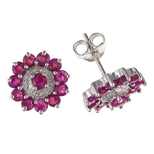 10mm style art déco Sparkling véritable Rubis et diamant rond Cluster Boucles d'oreille à tige/clous d'oreille-Argent Sterling 925-Livré dans une boîte cadeau gratuit/sac cadeau