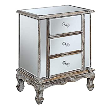Image of Convenience Concepts Gold Coast Collection 3-Drawer Mirrored End Table, Weathered White Home and Kitchen