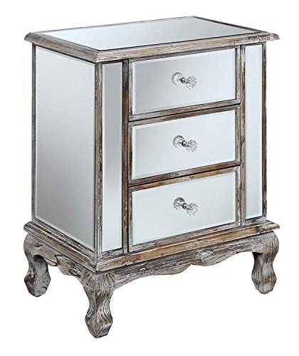 Convenience Concepts 413359WW Gold Coast Collection 3-Drawer Mirrored End Table, Weathered White (Furniture Distressed Gold)