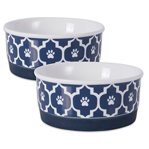 Ceramic Pet Bowl for Food & Water with Non-Skid Silicone Rim for Dogs and Cats (Small - 4.25