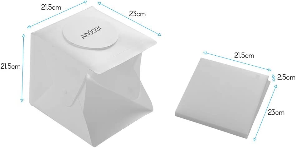 Andoer Photography Studio Light Box Shooting Tent Box Kit Mini Folding Photography Studio Softbox with 6 Colors Backdrops 2pc LED Strip with 40pcs Light Beads 6500K USB Cable