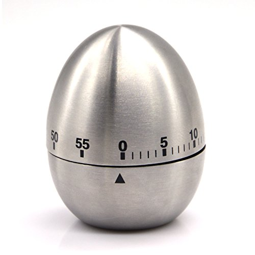 eBerry¨ Stainless Steel Egg Shape Kitchen Timer Mechanical Drive Count-down Kitchen Timer, 60-Minute Practical