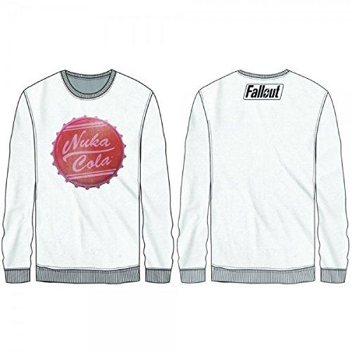 (Fallout Nuka Cola Mens Long Sleeve Shirt Licensed (Small), White)