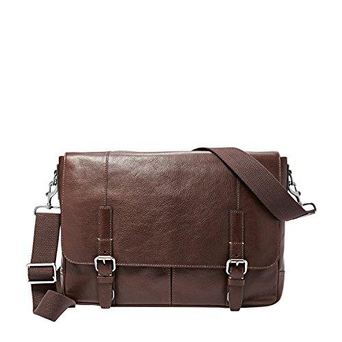 Fossil Graham East West Leather Messenger Bag, Dark Brown