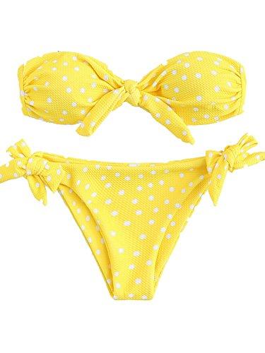 Yellow Polka Dot Bikini - SOLYHUX Women's Bikini Set Polka Dot Twist Knot Padded Two Pieces Bandeau Bathing Suit Yellow S