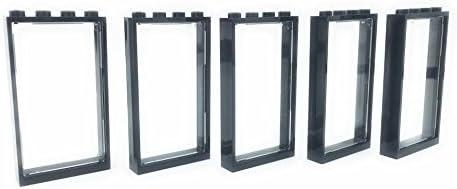 LEGO City - 5 Black Windows 1x4x6 + 5 Trans Clear Glass - Loose Parts