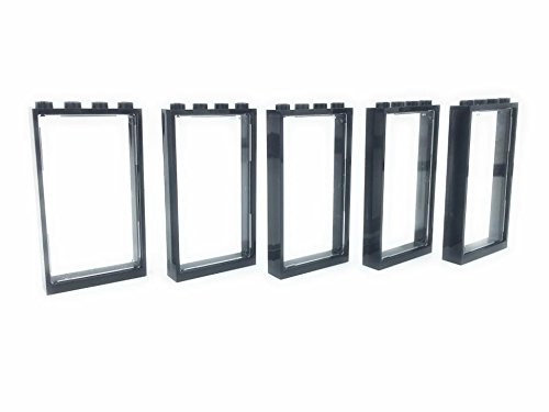 (Lego City - 5 Black windows 1x4x6 + 5 trans clear glass - loose parts)