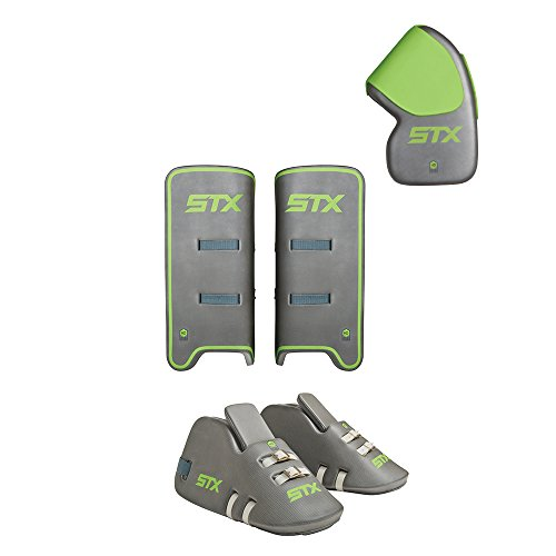 STX Field Hockey Deny Youth Goalie Set with Goalie Gloves, Kickers and Leg Guards, One Size, Gray