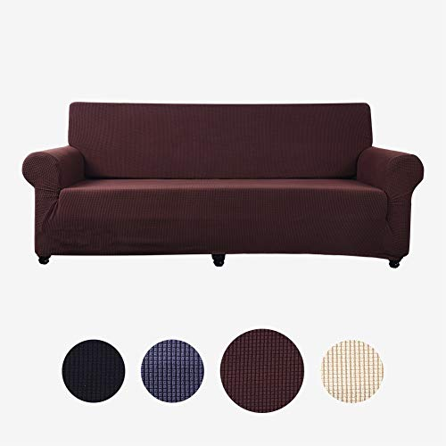 Sobibo Jacquard Stretch Loveseat Cover, Couch Cover Sofa Slipcover Pet Dog Sofa Covers Protector for 2 Cushions(Loveseat, Coffee)