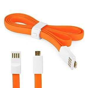 BoxWave servicio de asignación magnético Samsung Galaxy Y Pro b5510 fideo Cable - 3 pies. Longitud Cable de carga Y sincronización para Samsung Galaxy Y Pro b5510 Y Micro USB dispositivos compatibles (zarrapastroso naranja)