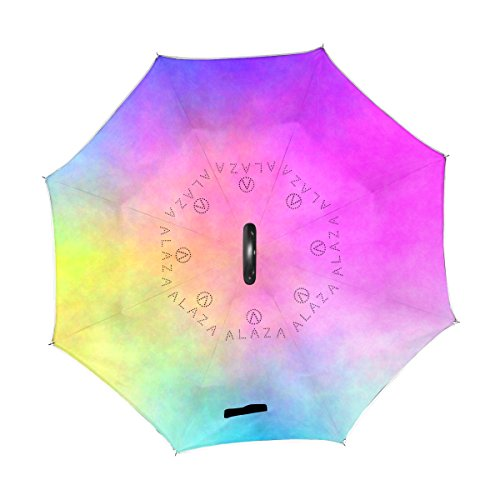 My Daily Double Layer Inverted Umbrella Cars Reverse Umbrella Watercolor Chaotic Clouds Windproof UV Proof Travel Outdoor Umbrella