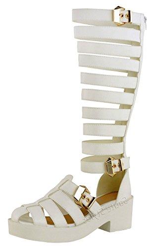 Saute Styles - Sandalias de vestir para mujer White Faux Leather Chunky Gold Buckles