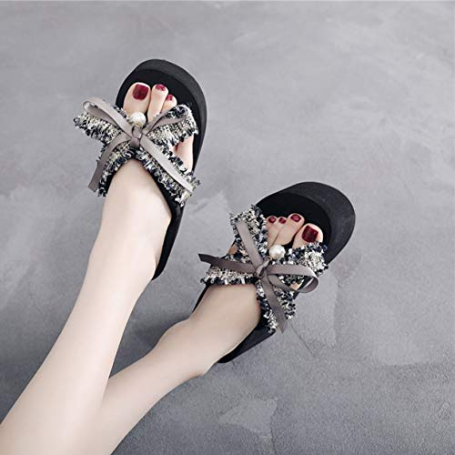 3cm Femmes Pour 8cm 1 gris Wedge 35 Tongs noir forme Sandales Pearls Plate Banbie8409 Noir Thong 107 rose Shoes 37 qAB7W5