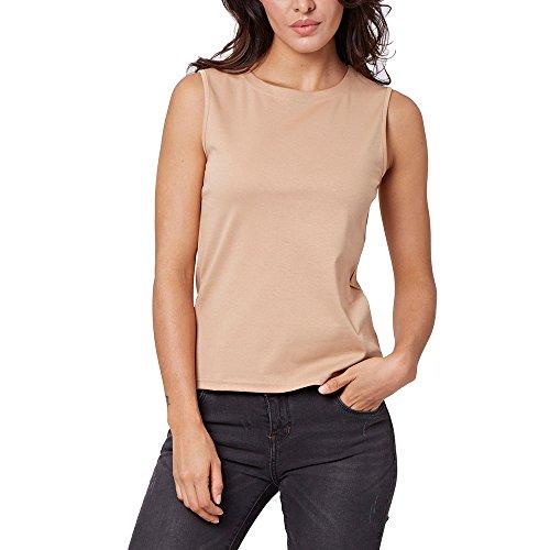 ENIDMIL Women's Casual Sleeveless High Neck Cami Tank Top (Light Khaki, XL)