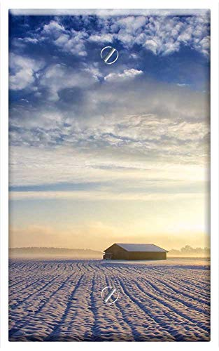 Single-Gang Blank Wall Plate Cover - Landscape Nature Sun Sky Clouds Hut Winter Snow
