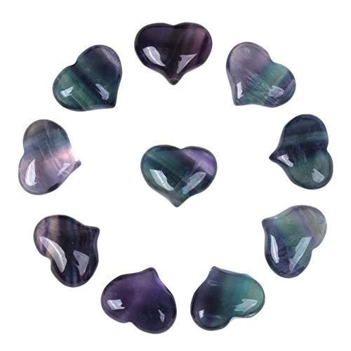 (Justinstones Natural Rainbow Fluorite Gemstone Healing Crystal 1 inch Mini Puffy Heart Pocket Stone Iron Gift Box (Pack of 10))