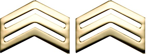 Rank Sergeant Military (Army ROTC Rank for ENLISTED - Gold No Shine (Cadet - Sergeant))