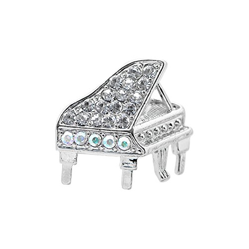 Swarovski Crystal Piano - Spinningdaisy Tiny Jewel Crystal Grand Piano Brooch Pin Silver
