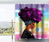 bathroom shower curtains  Traditional African Black Women With Purple Hair Afro Hairstyle Watercolor Portrait Picture Print Waterproof Mildew Resistant Fabric Polyester Shower Curtain 72X72 Inch