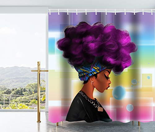 Get Orange Traditional African Black Women With Purple Hair Afro Hairstyle Watercolor Portrait Picture Print Waterproof Fabric Polyester Shower Curtain Set with Hooks72 X 72 - Purple Girls Shower For Curtain
