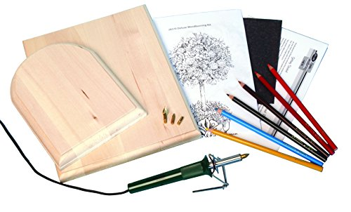 Walnut Hollow Deluxe Woodburning Kit with Woodburning Pen, Patterns, Color Pencils and Instructions ()