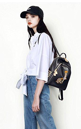 WTUS Mujer nuevo paquete mochila mochila de viaje de ocio es simple y elegante cuclillas negro