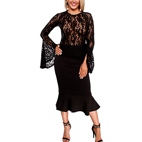 Women's Sexy 2 Piece Skirt Set Lace Flare Sleeve See Through Top + Mermaid Midi Skirt Black M