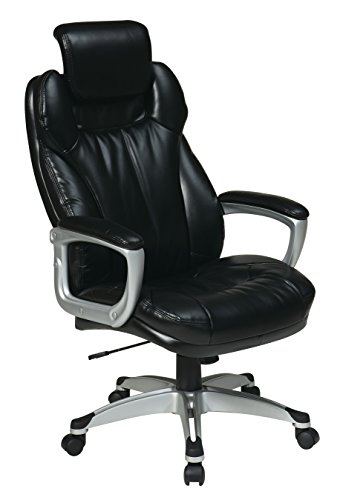 - Office Star Executive Eco Leather Chair with Padded Arms, Adjustable Headrest, and Silver Coated Frame, Black