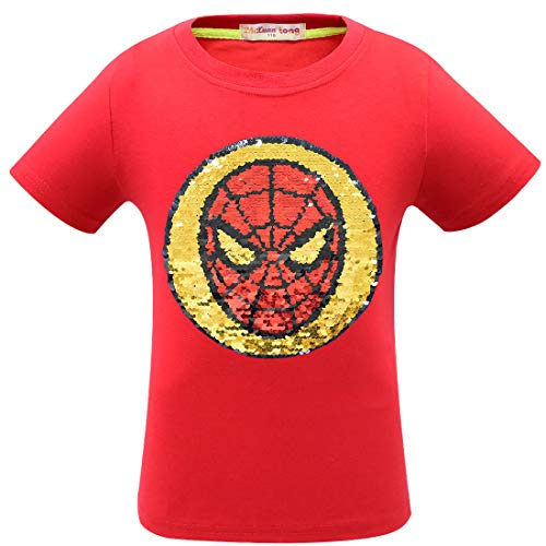 Boy Girls Avengers Children's Reflective Sequins T-Shirt Magic Short Sleeve Tops 3-14 Years Old (10-12 Years, 1SYZUHO)]()