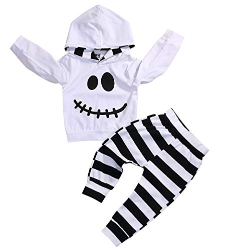 (Baby Halloween Outfits Set Pumpkin Hoodie Tops Blouse +Striped Pants 2Pcs Clothes Set (White, 12-18)