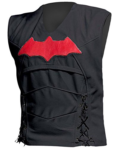 Cup Of Fashion Superhero Halloween Costume Vest - Men Cosplay Leather Merchandise (X-Large, Black Synthetic Leather)