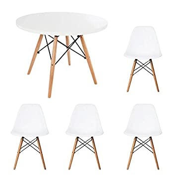 Amazon.de: Kinder-Esstisch und Stühle-Set Runder, weißer Tisch mit ...