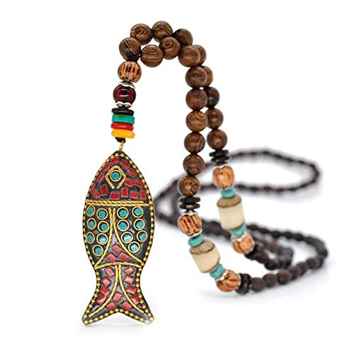 Handmade Nepal Necklace Buddhist Mala Wood Beads Pendant & Necklace Ethnic Horn Fish Long Statement Jewelry Women Men