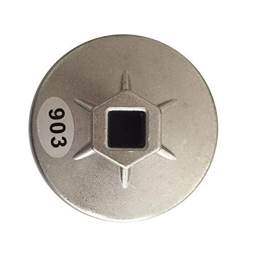 Panamami Llave de Tubo de Filtro de Aceite de Aluminio 903 74MM 14 Dientes-Plata