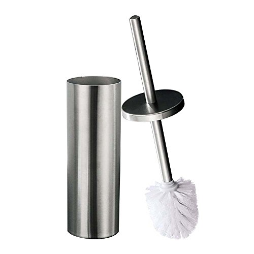 DOWRY Round Toilet Brush Holder,Stainless Steel Hideway Stand 15 Inch High,3.5 Diameter,Brushed Nickel (Stainless Steel Toilet Brush Holder)