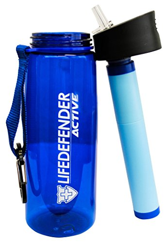 Life Defender Best Water Filter Camping Bottle for Hiking/Survival/Camping 2 stage with 1500L Capacity Removes 99.999% of Waterborne Bacteria Includes Paracord Bracelet with Flint