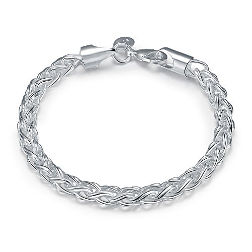 lver Stunning Fashion Jewelry Classic Twine Twist Rope Chain Bracelet Link Bangle Unisex ()