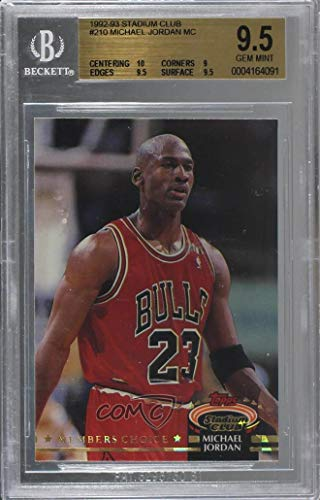 Michael Jordan Graded BGS 9.5 GEM MINT (Basketball Card) 1992-93 Topps Stadium Club - [Base] #210 - Graded Bgs Gem Mint