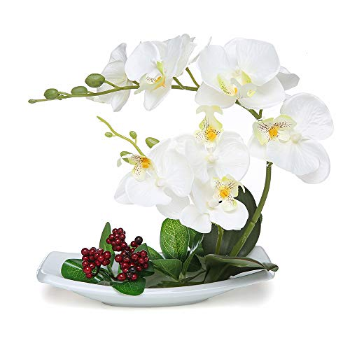 VIIVL Artificial Flowers 7 Head phalaenopsis Potted Landscape Imitation Porcelain Flowerpot Fake Flowers Decoration Indoor (White vase) (Imitation Orchids)
