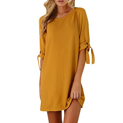 - Ankola Women Fall Sexy Solid Color Half Bowknot Sleeves Cocktail Mini Dress Casual Short Dress (S, Yellow)